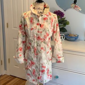 Eddie Bauer Floral Cotton Blend Trench Coat Medium